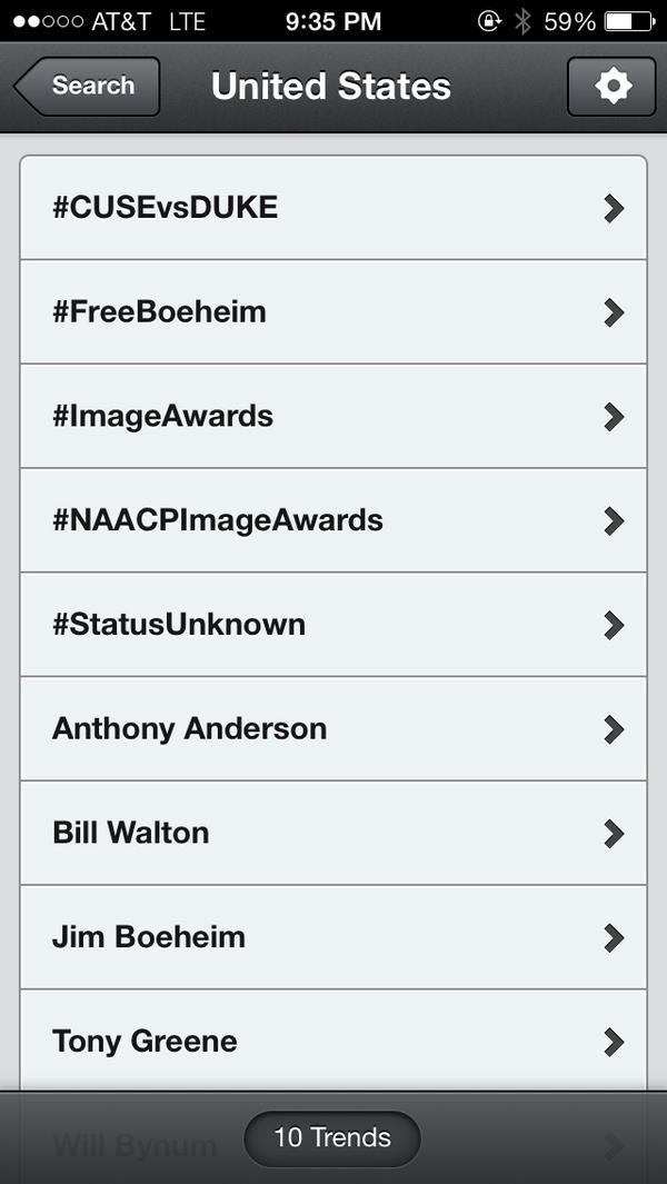 #CUSEvsDUKE & #FreeBoeheim are both trending. Well done #OrangeNation http://t.co/slyinhGiu7