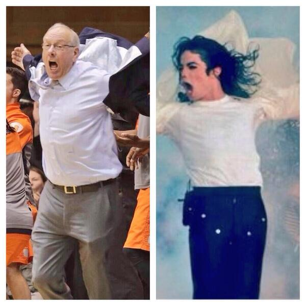 No need for drama. Jim Boeheim was just honoring Michael Jackson. http://t.co/0AsfFz2jpQ