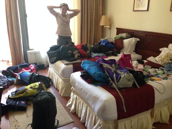 Quick re pack!! #doyouthinkwehaveenough #kilimanjaro @piersmorgan @WellbeingofWmen @SherpaEurope http://t.co/TS3SHnXWd6