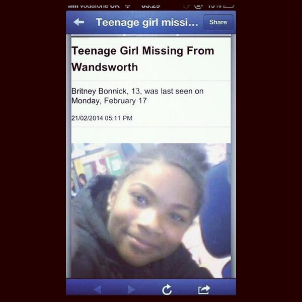 #MissingGirl from Wandsworth south London. RT UNTIL SHE'S FOUND. http://t.co/RMcXPFIf5m