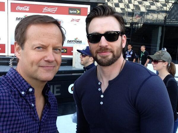 Rick Reichmuth (@rickreichmuth): About to talk with this unfortunate looking soul @ChrisEvans #Daytona500 @NASCAR http://t.co/gL0PwyRQ29
