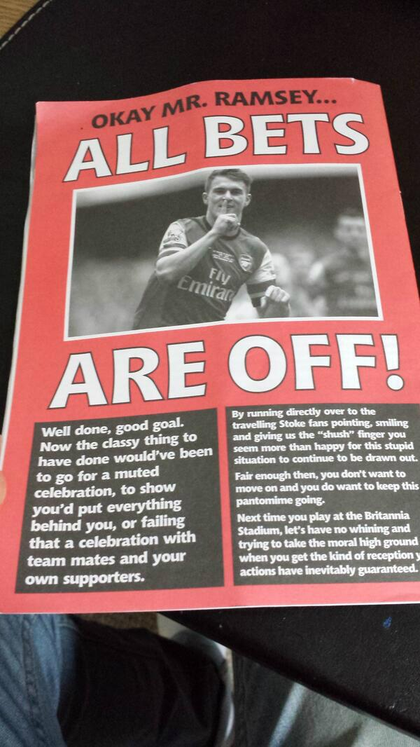 BhL4IerCMAA2jah Stoke fanzine prepares for Arsenal game with a warning for Aaron Ramsey