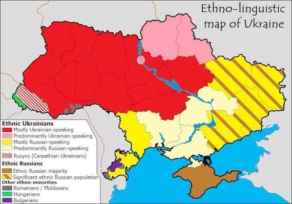 Like Belgium but bigger. Ethno-linguistic map of Ukraine - via @jricole http://t.co/J9TugP2QZ3