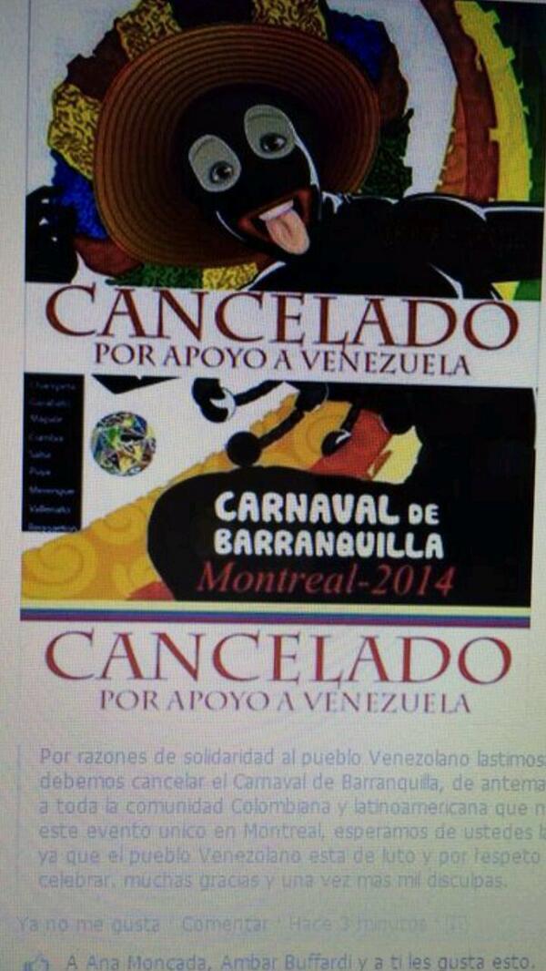 Otros países suspenden el carnaval por Venezuela y  aqui aun se lo estan pensando, #Resistencia. http://t.co/V1Jp5MNwq2