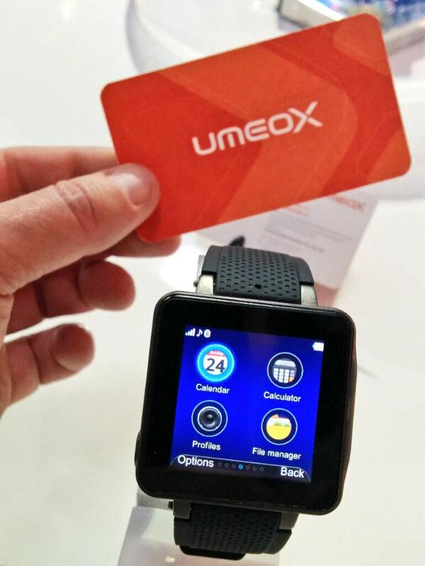 Another smartwatch! Full featured GSM phone on your wrist available in Germany now. #MWC14 http://t.co/cwE9S0jS6z