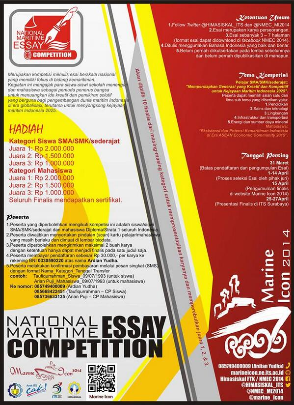 "@kirsmansa_ ""@HIMASISKAL_ITS: National Maritime Essay Competition 2014 hadiah total 9 juta @InfoLOMBA @BEMFTK_ITS http://t.co/tOXp1MvldN"""