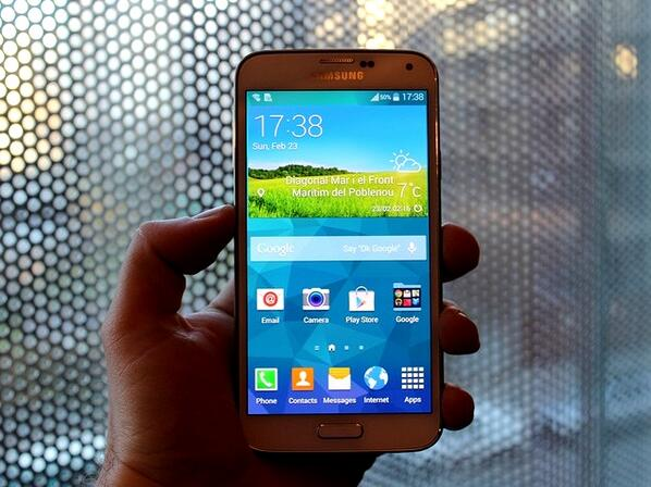 SPOILER: Photos of the Samsung Galaxy S5 have been leaked ahead of tonight's #MWC14 launch http://t.co/5qQnJwMxy7 http://t.co/DOqk4kFGRY