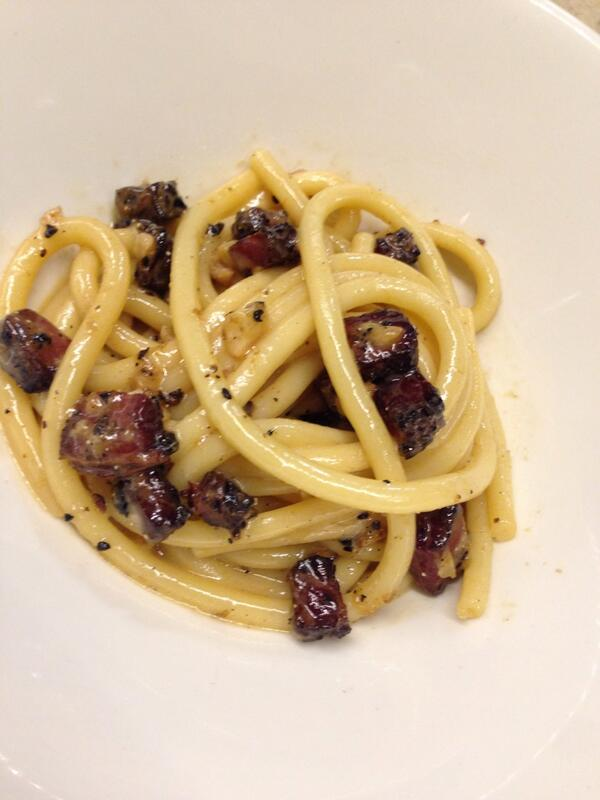 jonathon sawyer (@chefsawyer): Beef Jerky Bucatini w/ black pepper & pecorino   Carbonara + Cacio e Peppe + Americana = tasty http://t.co/afNmeWxhyS