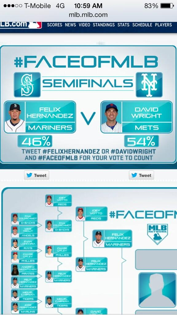 Good! RT @hiroism4ever: Hey @shannondrayer the #FaceofMLB #FelixHernandez is catching up! Let's keep him catching up! http://t.co/frRQt3W4b2