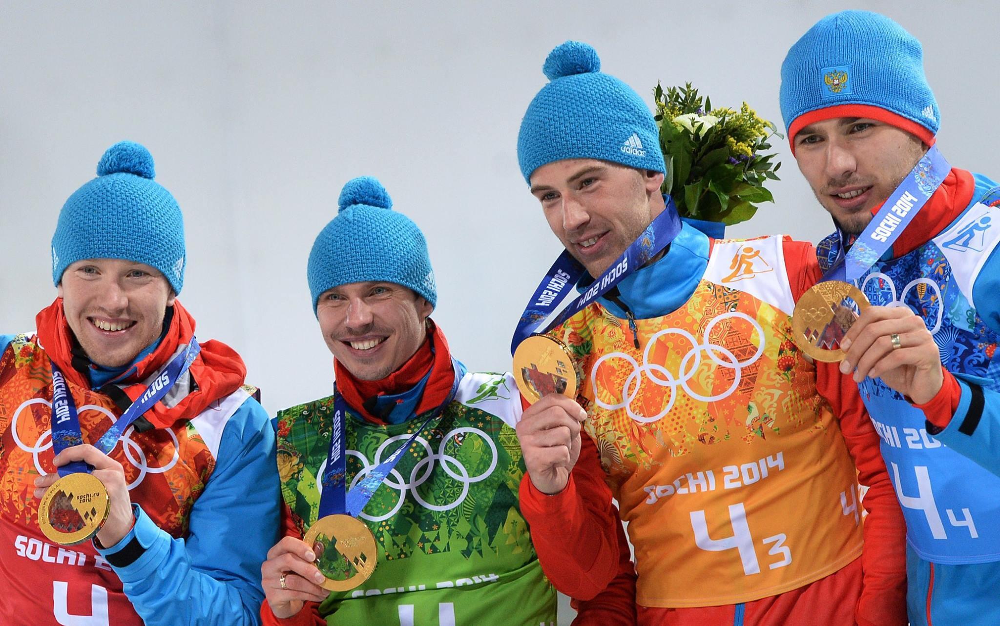До #Сочи2014 наши биатлонисты не выигрывали мужскую эстафету Игр  26 лет! Браво, Волков,Устюгов, Малышко, Шипулин! http://t.co/mgrXHWPxTo