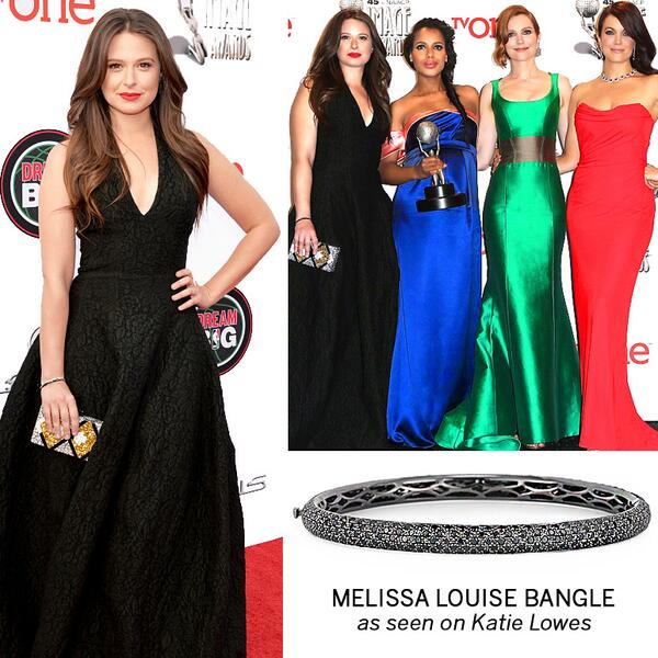 Gladiators are back! @KatieQLowes in our Melissa Louise #bangle at the @naacpimageaward: http://t.co/sT2AsOfGzZ http://t.co/uGptXmQYOI