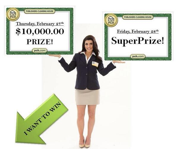 PCH Danielle Lam (@PCHDanielle): Did you hear?!The #PrizePatrol will be awarding TWO big checks this week? $10,000 on Thurs and the SuperPrize on Fri! http://t.co/SmxjzyTyIH