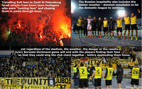 UCL Rewind: After being harassed, chased and assaulted by hooligans, Dortmund fans finally celebrate with the team. http://t.co/JF0nKBi8io