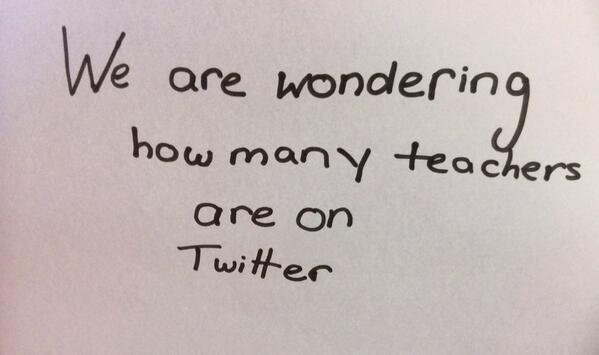 Please help! RT @5Rcggs: We are wondering how many teachers are using Twitter? Teachers - please retweet! http://t.co/pQ9ExNQkf4