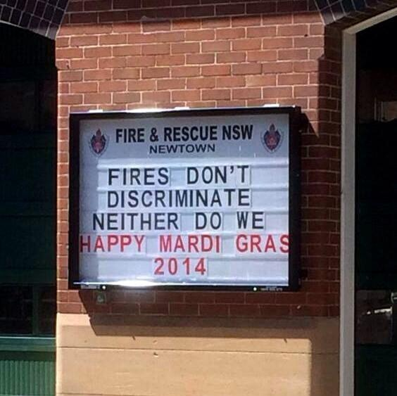 Love all this #mardigras love in the air: #Newtown fire station #Sydney #LGBTI http://t.co/9ubXYPBgcn via  @Iamverysmart