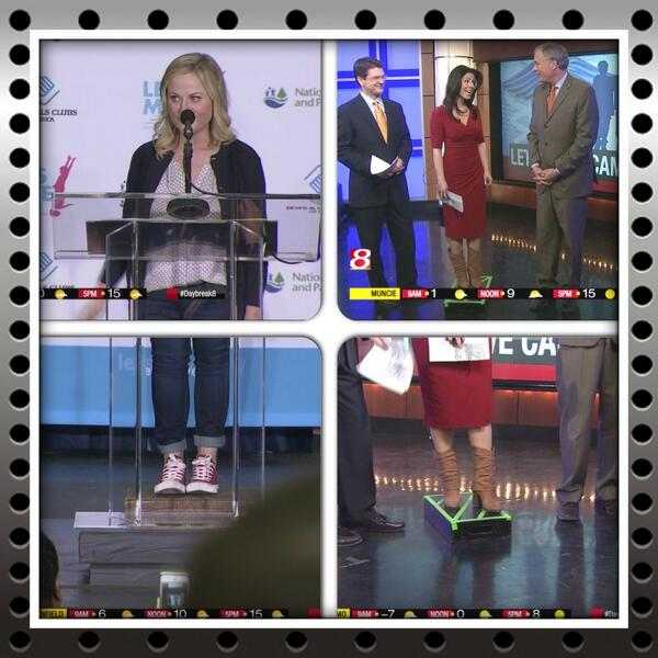 Hey Amy Poehler, I feel your pain. Short girls need to stick together! #BoxedIn #Shorty #daybreak8 http://t.co/56Nkz3rU48