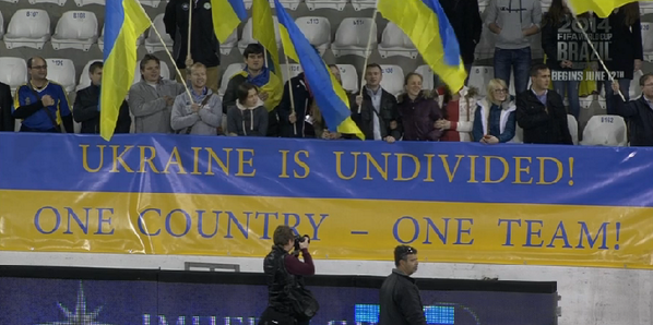Bh F6jUCcAAqm82 There was a big banner saying Ukraine is Undivided   One Country, One Team at the United States friendly