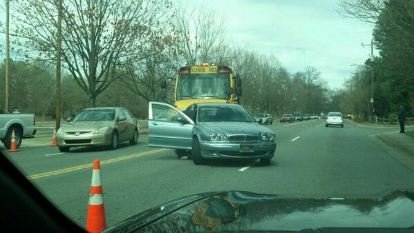 Accident involving a School Bus @wcnc on Monroe Road. http://t.co/T0u8OZQJLh