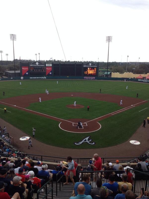 Sandra Golden (@sportsandra): Braves baseball underway !!!! http://t.co/O1dGoO908r