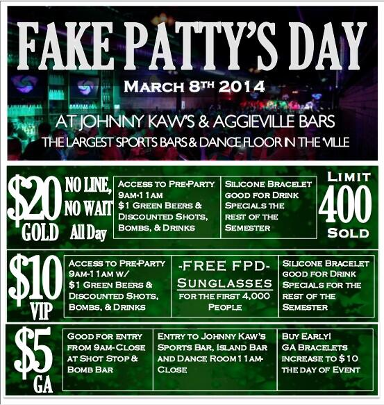 "Get your FPD bands @JohnnyKaws! $5=GA $10=VIP ""FREE SUNGLASSES, $1 Green beers & discounted drinks all semester!"" http://t.co/elIUTf2SPf"