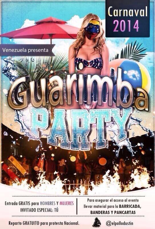 """Estos Carnavales 2014, Venezuela presenta """"Guarimba Party"""" Entrada libre! Lleva tu barricada. http://t.co/HyrmVJ1kDz"""
