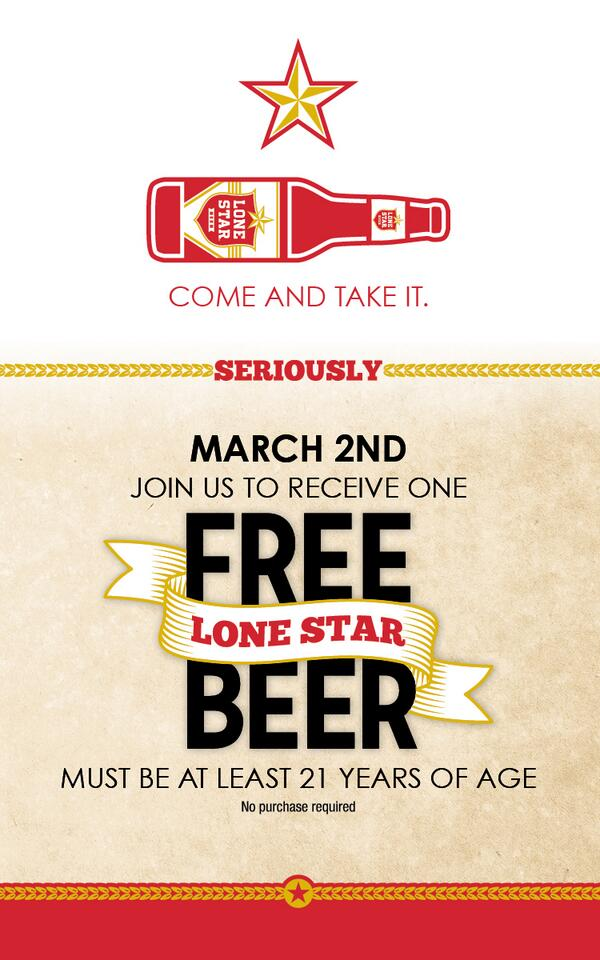 Celebrate Texas Independence Day with Rudy's and @LoneStarBeer ! (Valid at Texas Locations Only) #comeandtakeit http://t.co/Gz9TmbZbHy