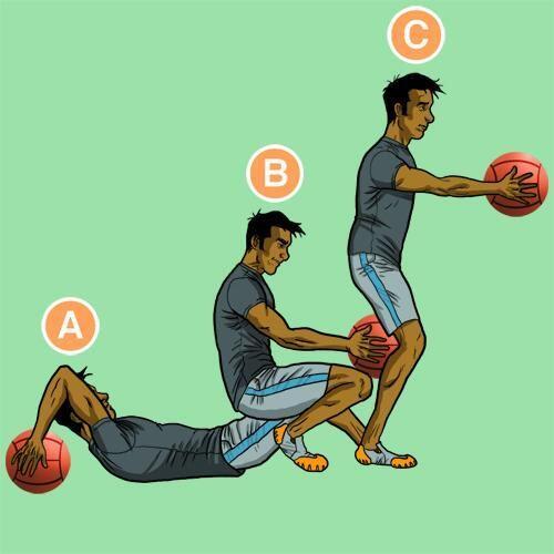 ¡Un ejercicio con balón medicinal para que probéis hoy! ¿Cuántos puedes hacer en un minuto? http://t.co/C42ufJ8QQd