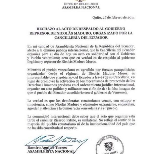 Que bueno que alguien salga de manera oficial a rechazar el evento. #EcuadorNoEstaConMaduro #SOSVenezuela http://t.co/PTkHUk9DRT