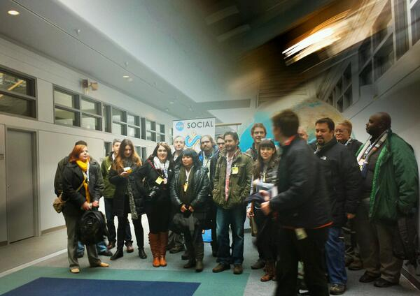 Group shot (a little late snap on the phone, sorry!) for #NASASocial here in B28. Now to hear from Michelle Thaller. http://t.co/22A2E5y2Fh