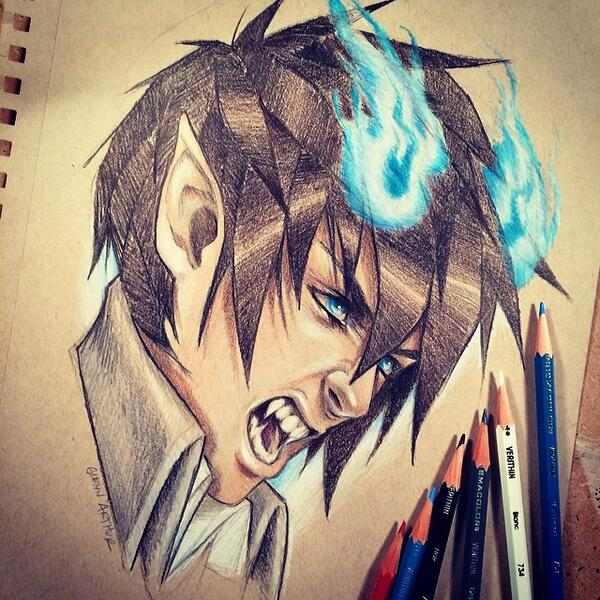 Have some #BlueExorcist #FanArt of #RinOkumura just for fun! #Anime #TonedPaper #PrismacolorVerithin #GlennArthurArt http://t.co/p5QFEAqUhh