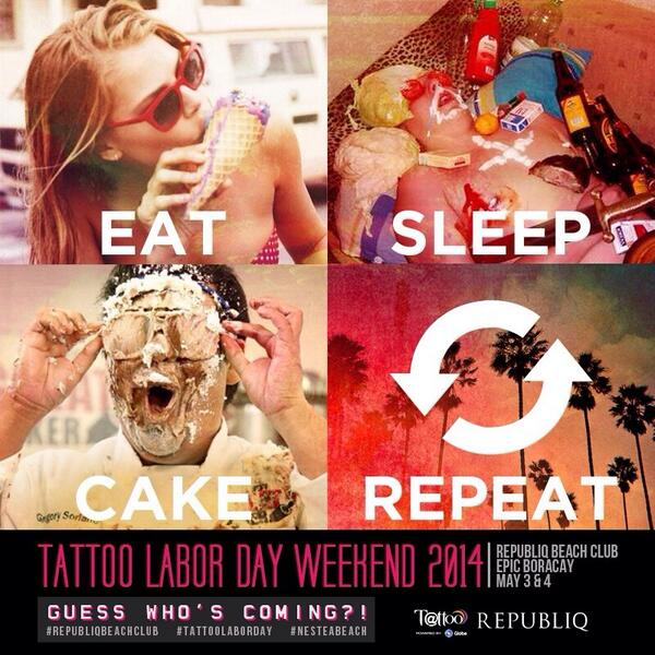 Plans for Labor Day weekend-EAT. SLEEP. CAKE. REPEAT. Guess who's coming to Republiq Beach Club??? http://t.co/Hd3js3FGP4