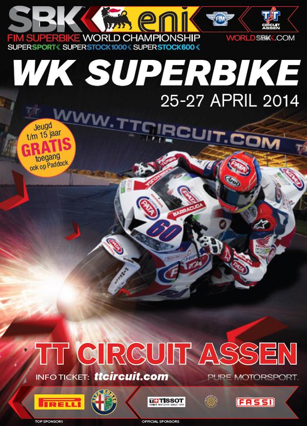 Hij is er: de officiële WK Superbike poster met @mickeyvdmark. RT en maak kans op 3x twee kaarten! #TTAssen http://t.co/KFzvc6t9Im