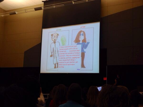 A 7th grade girls' perception of what a scientist looks like, before & after visiting Fermilab #scio14 #scioconverge http://t.co/Z1osiOw16z