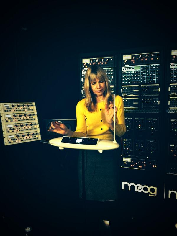Dorit Chrysler, head of the NY Theremin Society playing Theremini prototypes in the @MoogSoundLab.  @elbocco http://t.co/V2i7mPge6H