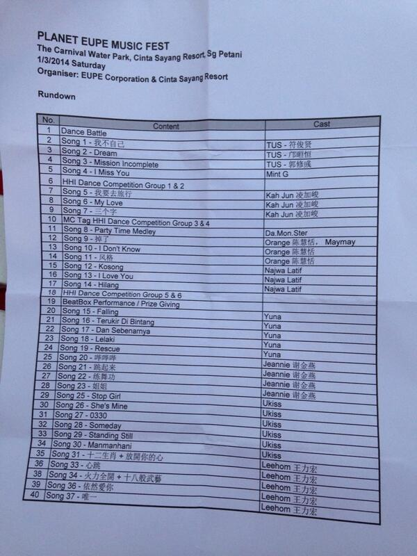 Here are the songs that will be performed tonight at #PlanetEupeMusicFest http://t.co/965Kn2CPpG