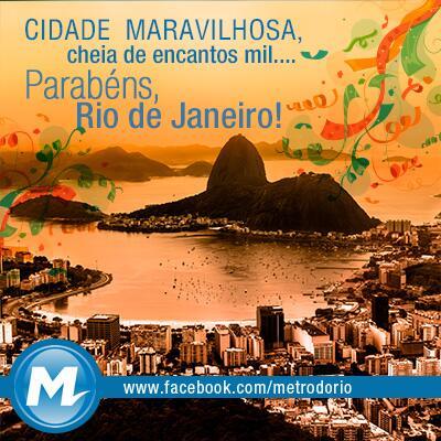 Parabéns, Rio de Janeiro, pelos seus 449 anos! #Rio #RiodeJaneiro #449anos http://t.co/fifhr8IU01