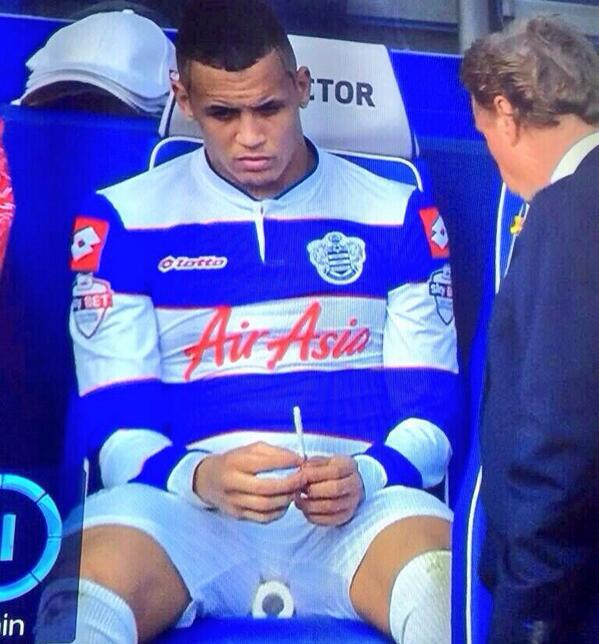 BhpvTcvCUAAHGrB Smokes When He Wants: QPRs Ravel Morrisson reacted to being subbed v Leeds by whipping out a cigarette