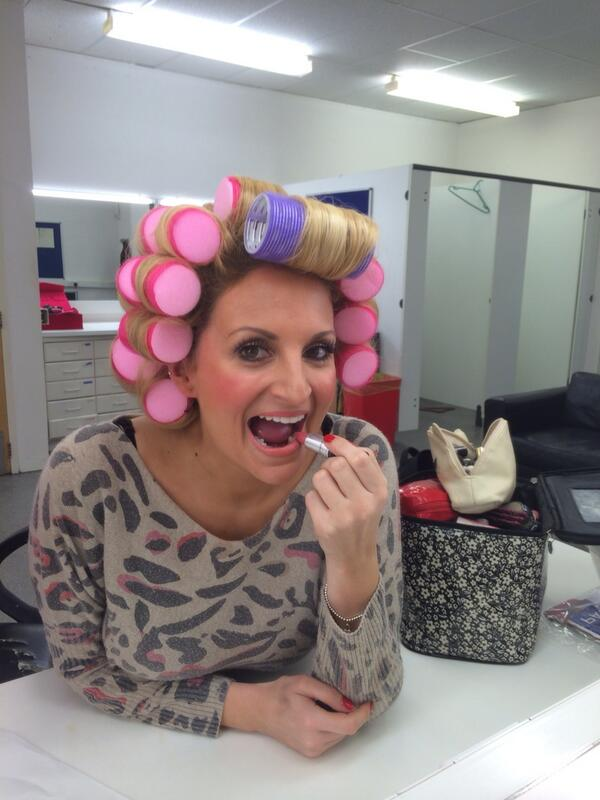 It's @sallyjacks1 getting her hair coiffured! Selling the rollers on Tuesday. Oh the glamour! http://t.co/hgeL9XiJ85
