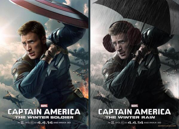 LOLZ! RT @AshrafGhori: Captain America WINTER RAIN! http://t.co/EZcZPypGmD http://t.co/80aQd8aqYn