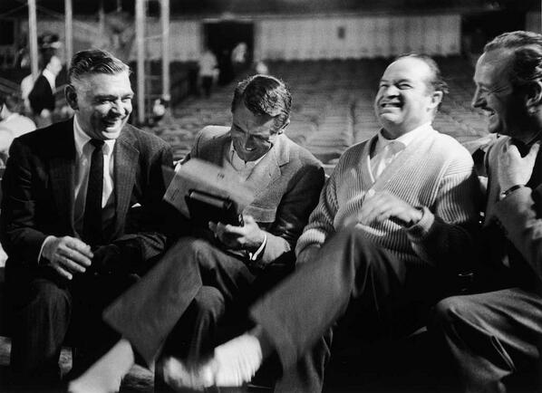 Clark Gable, Cary Grant, Bob Hope and David Niven having a laugh during the rehearsals for the Academy Awards, 1958. http://t.co/9eaX8yGFyX