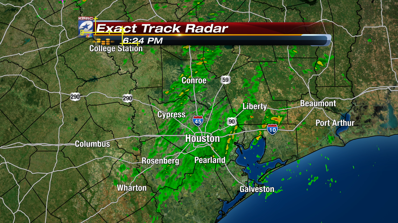 6:30pm with moderate rainfall throughout SE Texas with pockets of  heavy as temps drop along with frontal passage. http://t.co/RsRO8uTqjR