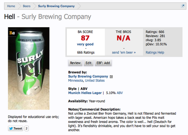 .@surlybrewing Hell just hit 666 ratings on @BeerAdvocate. Had to capture it. #craftbeer http://t.co/NJgOBDnRCh