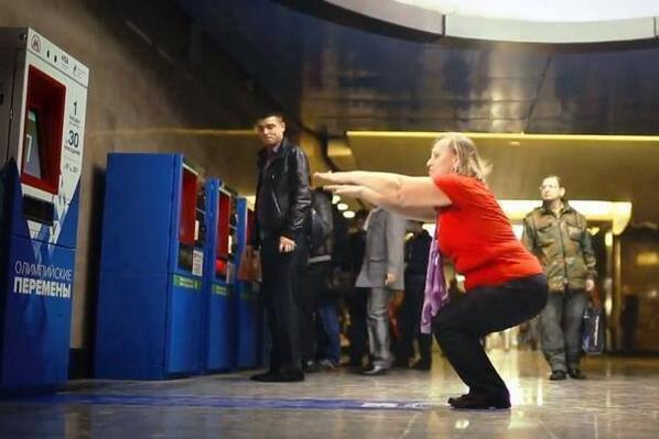 Subway ticket machine in Moscow accepts 30 squats as its payment. http://t.co/QdfKrs3CnW