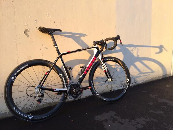 The new @bisselldt @trekbikes Madone 7 Team Issue.  Guys are so stoked! #proveit http://t.co/gQvIixYdrG