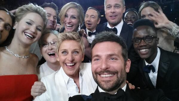 """@TheEllenShow: If only Bradleys arm was longer. Best photo ever. #oscars http://t.co/8KnkM2MlD7"" PR thought: Million dollar integration fee"