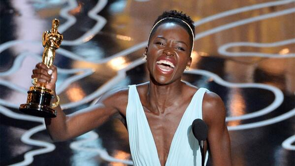 LOVE!!!RT @Variety: Lupita Nyong'o wins Oscar for her first feature role http://t.co/sK1uIRYQgR #Oscars2014 http://t.co/A1lTLSaetL