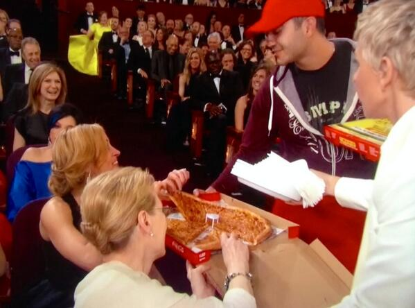 Pizza in a Starring Role | @BigMamasNPapas gets sweet plug at #Oscars. @TheEllenShow #PieInTheSky moment http://t.co/gADMoPd7VF