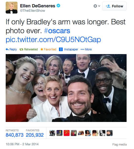 Es oficial. @TheEllenShow tiene el tweet con más RT de la historia. Supera a @BarackObama #OscarsEnTNT http://t.co/mBo7JoEc23