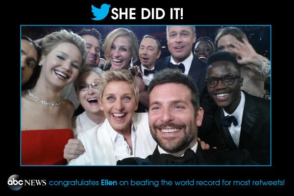 Ellen's Oscars group selfie most retweeted tweet ever, first to cross 1- and 2M retweets: http://t.co/HDG1A98Hvd http://t.co/kuNqPyzdMU