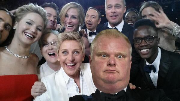 Didn't take long. RT @DanDakinMedia: GREATEST. PHOTOBOMB. EVER. Who says Rob Ford wasn't at the #Oscars http://t.co/N6xkZVxImW